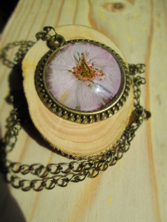 Cherry blossom necklace pressed flower jewelry by LisaDecorGifts