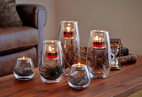 Feathers are great fillers for glass candle holders! #PartyLite : Shop online at www.PartyLite.biz/NikkiHendrix