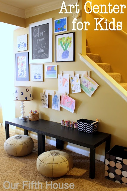 Kid's art area/desk. Great use of narrow space along wall.