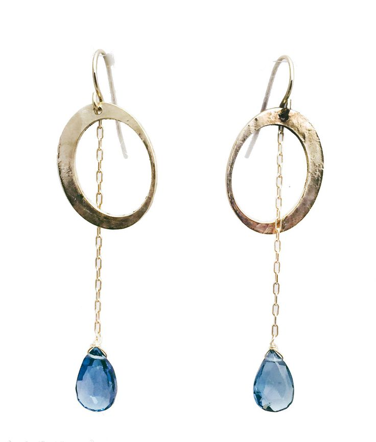Mabel Chong Glimmer EarringsThe earrings have 14k gold fill wire, anyone who can wear gold will love these. Each earring features a 14k gold fill circle through which a chain runs through to dangle a London Blue topaz.. $95