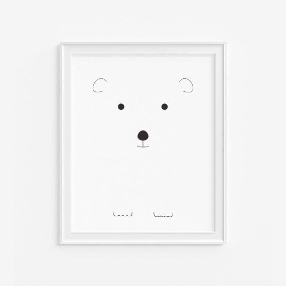 Baby polar bear nursery giclee print- Black and white kids room decor- Wall art for children- (A-316)