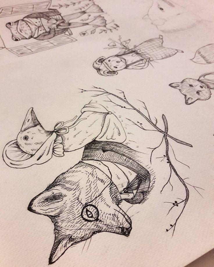 """Polubienia: 143, komentarze: 1 – Aleksandra Wieczorkiewicz (@flowhare) na Instagramie: """"#progress #valentines #flashset #myart #mywork #illustration #animals #vintage #wroclawart #tattoo…"""""""