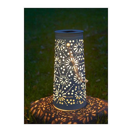 SOLVINDEN LED solar-powered floor lamp, cone-shaped white cone-shaped white 17 3/4
