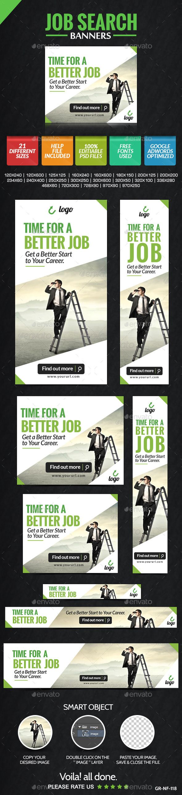 Job Search Banners Template PSD   Buy and Download: http://graphicriver.net/item/job-search-banners/9088275?WT.ac=category_thumb&WT.z_author=doto&ref=ksioks