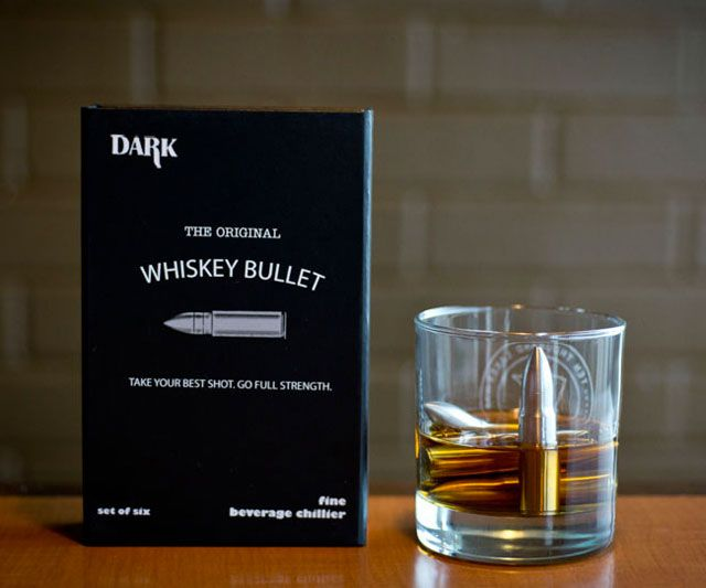 Settle down and chill your bullets* with some Bulleit, and settle down and chill your Bulleit with some bullets. Sip Dark, purveyor of fine beverage chilling stones and sipping gear, has created the Original Whiskey Bullet. Sold here as a set of 6, th