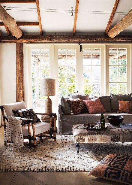 Rich tones and sumptuous textures create a cosy living room - Home Beautiful