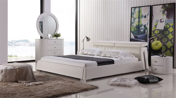 Casabianca ANGEL White leather headboard with eco-leather match rails King Bed