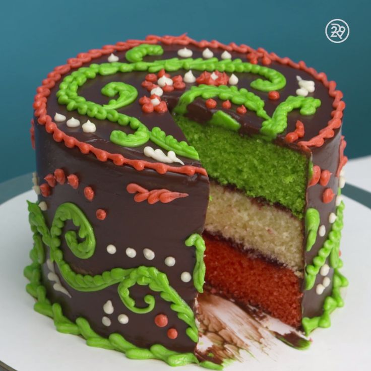 Watch this Italian rainbow cake be built
