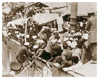 Not all would-be immigrants were admitted to Canada. The people in this photograph had been denied entry and were about to be deported.  Would-be Canadians aboard a ship preparing to depart for
