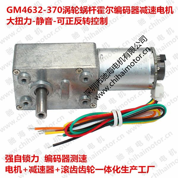 GW4632-370 strong self-locking worm gear motors DC Hall encoder motor 12V24V