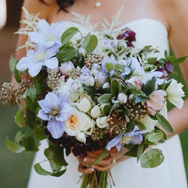 clematis bridal bouquet | bridal bouquet of clematis, garden rose, hellebore, astilbe and sage ...