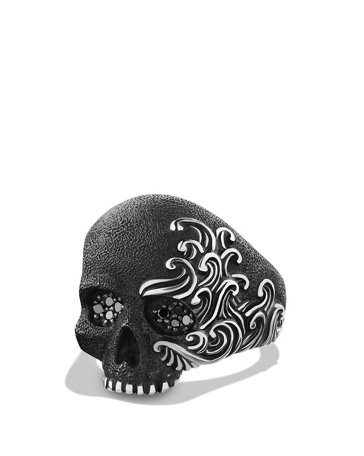 David Yurman Waves Large Skull Ring with Black Diamonds | Bloomingdale's