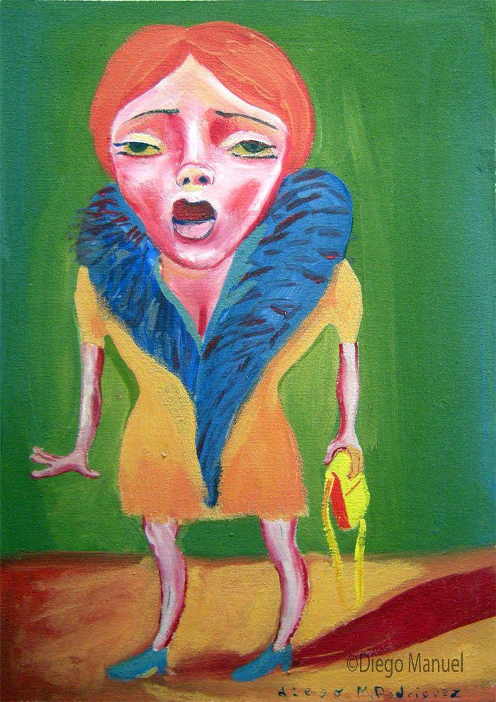 """""""La pelirroja"""", acrylic on canvas, 24x 18 cm., year 1998"""