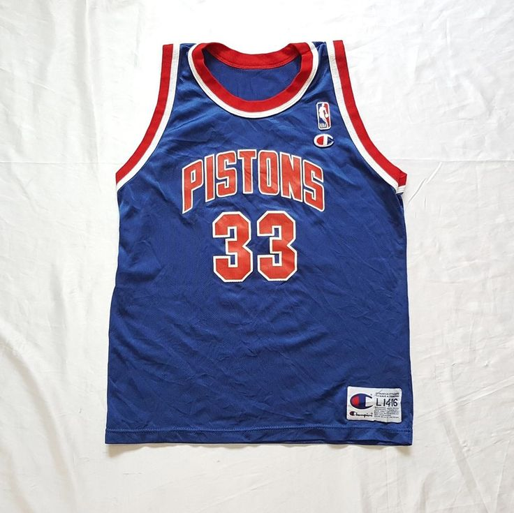2cecc86c4 ... Vtg Detroit Pistons 33 Grant Hill NBA Basketball Blue Champion Jersey L  Youth http ...