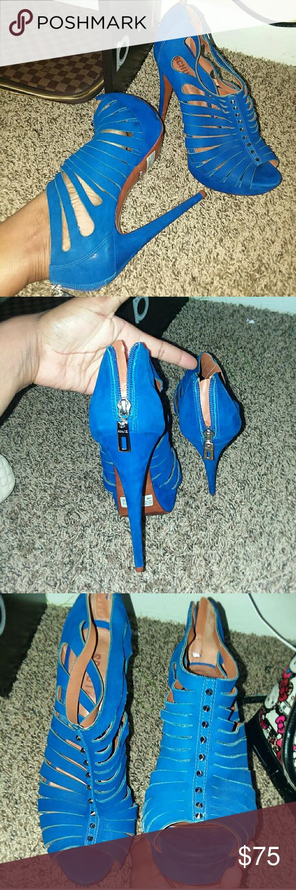 "Summer sexy royal blue high heels 5"" royal blue worn twice bought from Nordstrom in the Aventura mall Miami i lost the white dust bag and box moving from one state to another i paid $274 on sale willing to negotiate price (free gift to my FIRST BUYER) SCHUTZ Shoes Heels"