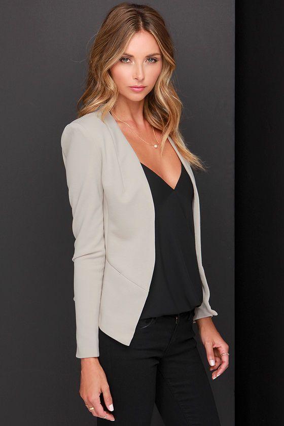 Momentu0026#39;s Notice Light Taupe Cropped Blazer | Cropped blazer Taupe and Blazers