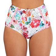 Multi-coloured floral print high waisted bikini bottoms