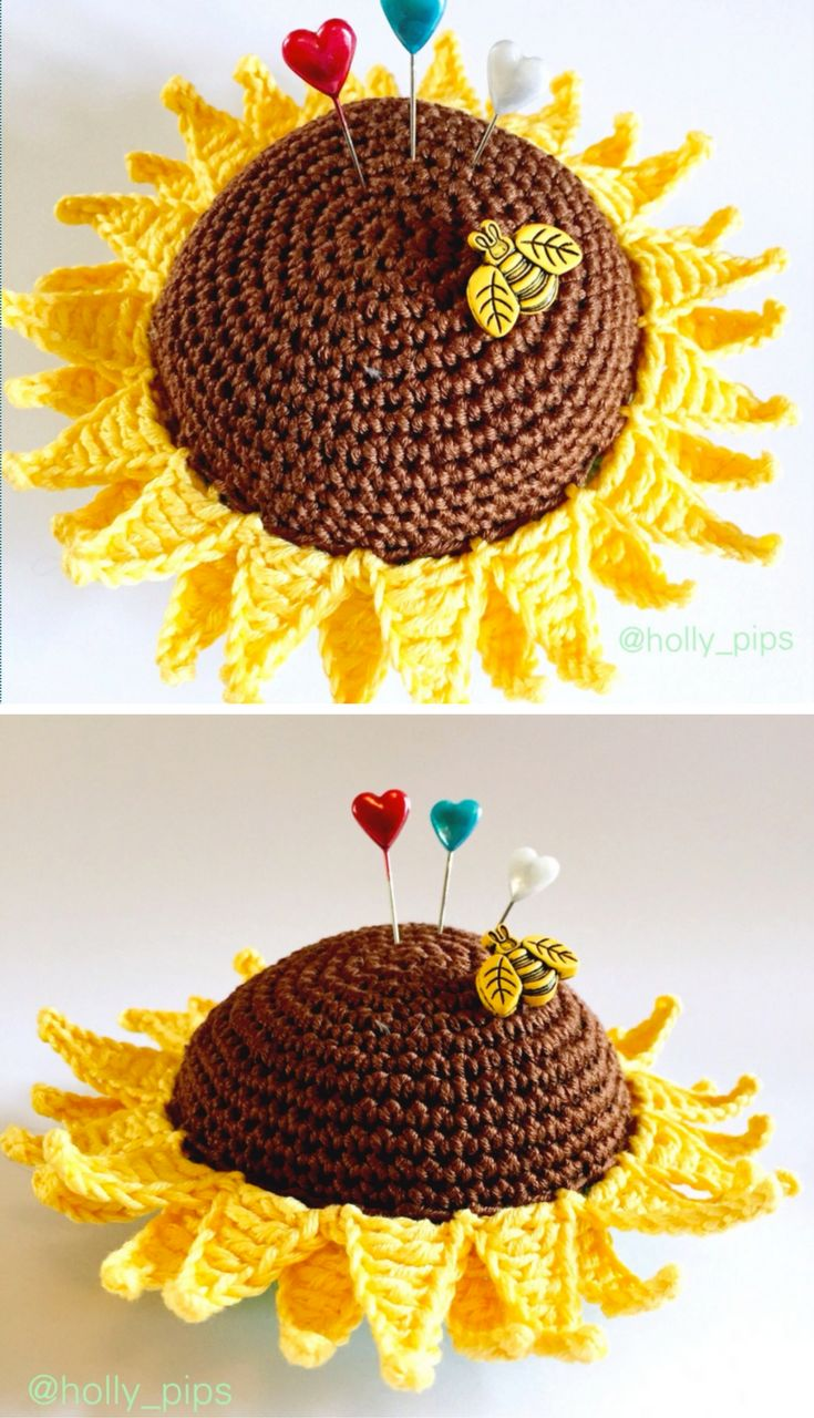 Crochet Tutorial: Crochet Sunflower Pincushion
