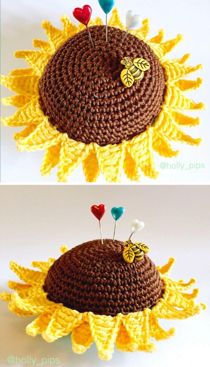 Crochet Tutorial: Crochet Sunflower Pincushion