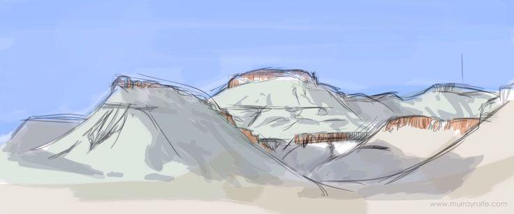 Karoo national park mountains, iPad sketch, Murray Ralfe Www.murrayralfe.com
