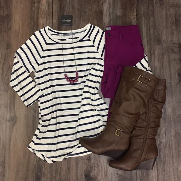 3/4 Sleeve Striped Top Spring 2017 Outfit Inspiration Stitch Fix Ideas Randy Baseball Sleeve Tee. Shop now at www.hawthornecollection.com with Free Shipping!