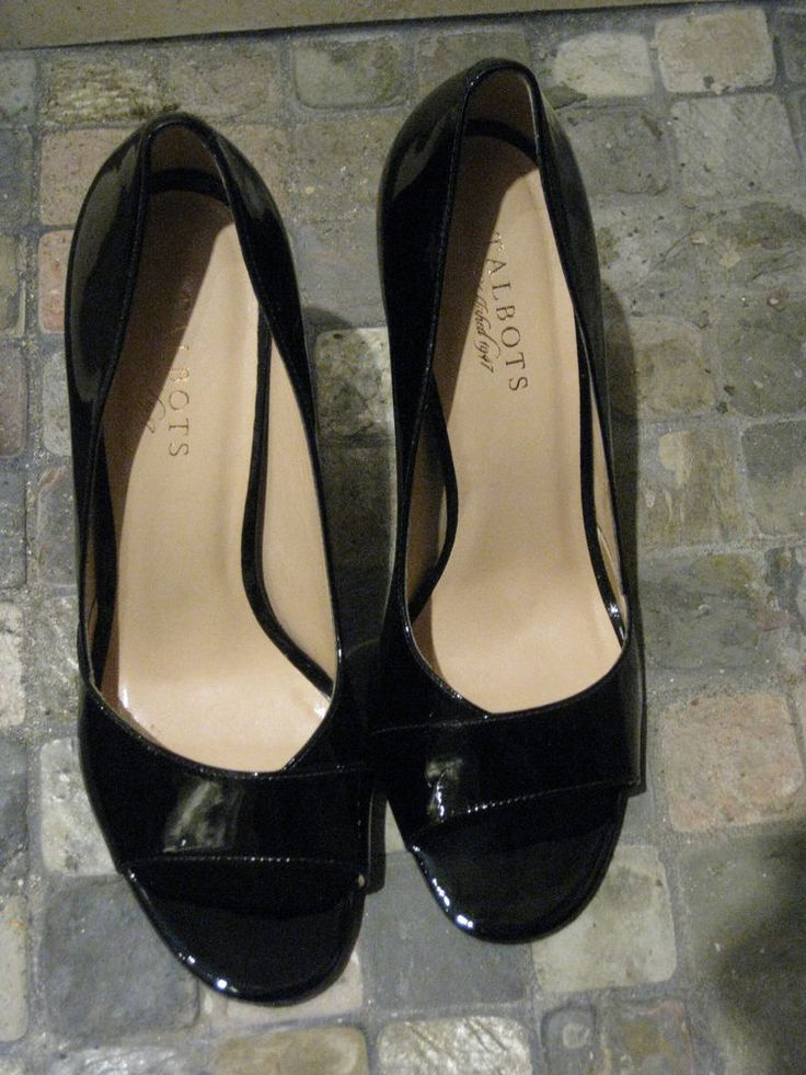WOMENS BLACK PATENT OPEN TOE SHOES LORIE4 TALBOTS 10B $159 #Talbots #OpenToe