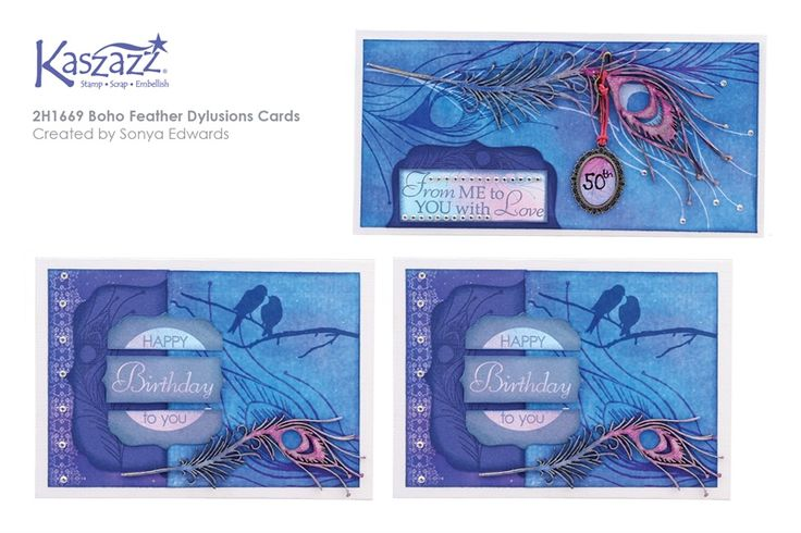 2H1669 Boho Feather Dylusions Cards