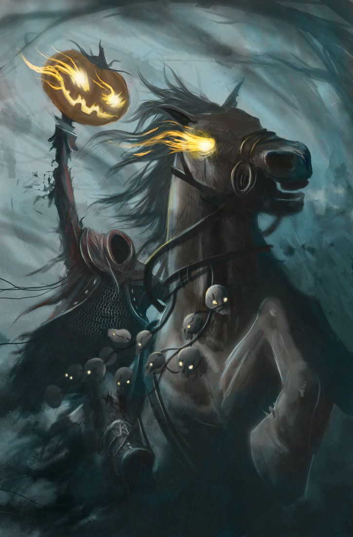 headless horseman picture | Headless Horseman by ~srdunko on deviantART.Pumpkin smile is more jolly and not so teeth haunting. Good element to bear in mind.
