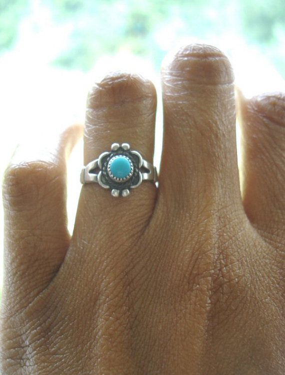 Vintage Sterling Silver Turquoise Navajo Ring by PrettyandBling