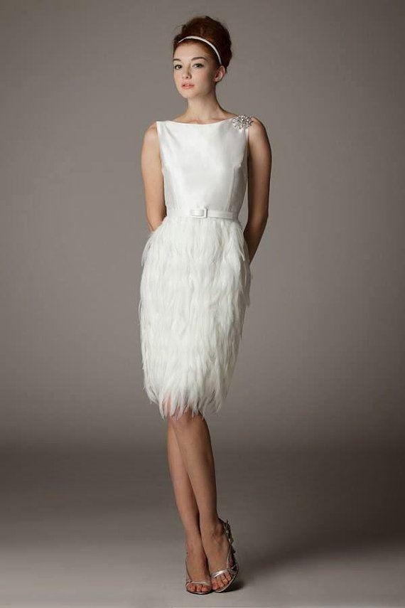 Custom Order Short Wedding Dress With Ostrich Feathers Wedding