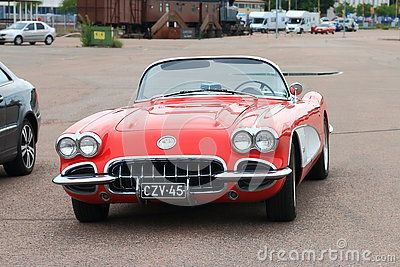 Old Chevrolet Corvette in the parking lot. Front view. Kotka, Finland