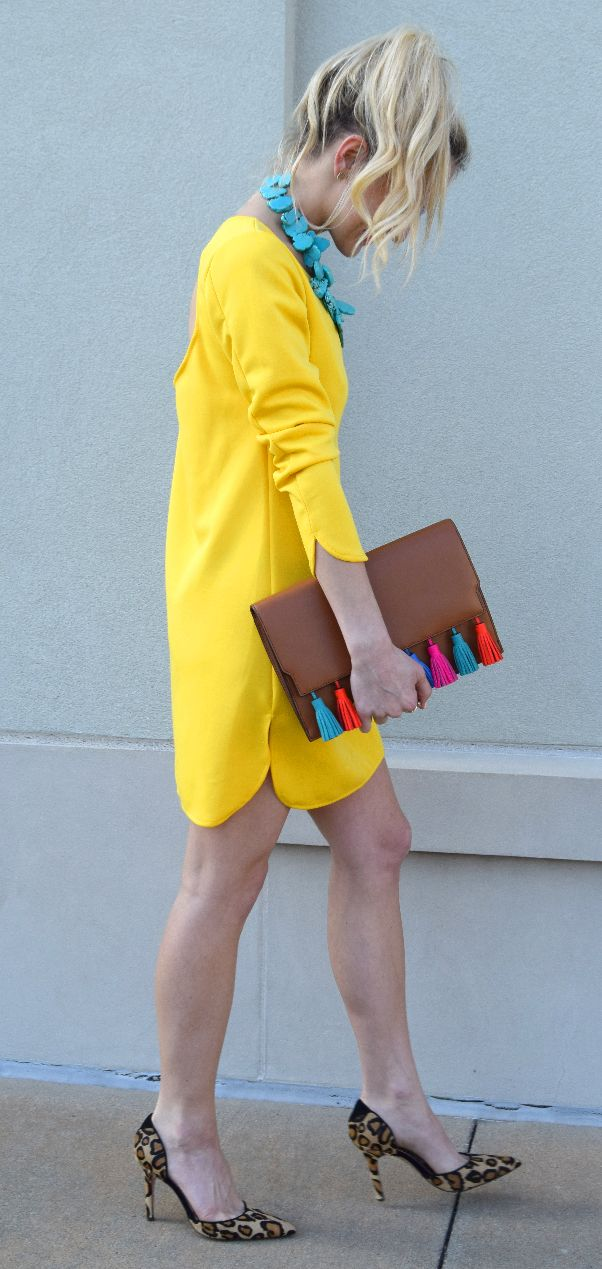yellow shift dress.