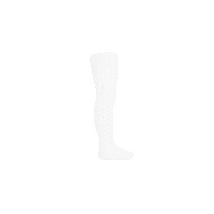 Witte glans katoenen babymaillot . De beentjes van de maillot zijn geheel opengewerkt. Maillot sluit aan op de beentjes en enkeltjes. Gemaakt van 100% glanskatoen.