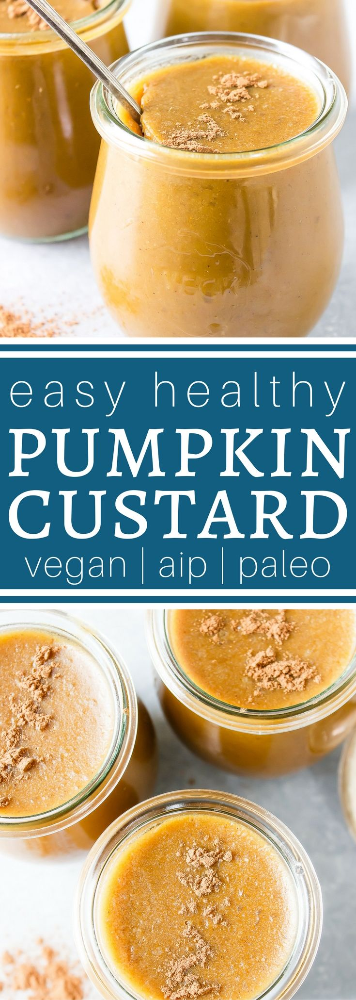 This Healthy Pumpkin Custard tastes like pumpkin pie but takes a lot less time to make -- and it's no bake! Low Carb, Paleo, Vegan, THM:S and AIP Friendly. it's loaded with great nutrition. I have to make multiple batches next time because my kids devoured this in a flash. (well, I helped a little :).) via @wholenewmom