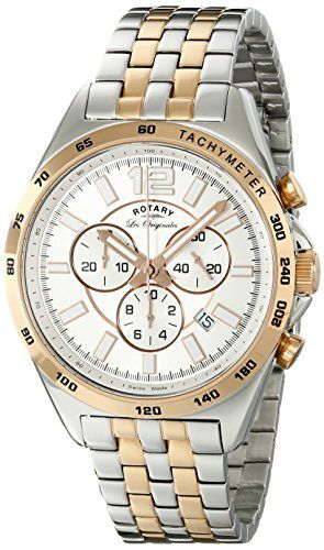 Two tone rose plated chronograph Swiss made watch Silver index/Arabic dial with sapphire glass Swiss-quartz movement Case diameter: 42mm Water resistant to 165 feet Limited stock! http://houseofcompliments.com/product/rotary-mens-gb9007206-analog-display-swiss-quartz-two-tone-watch/
