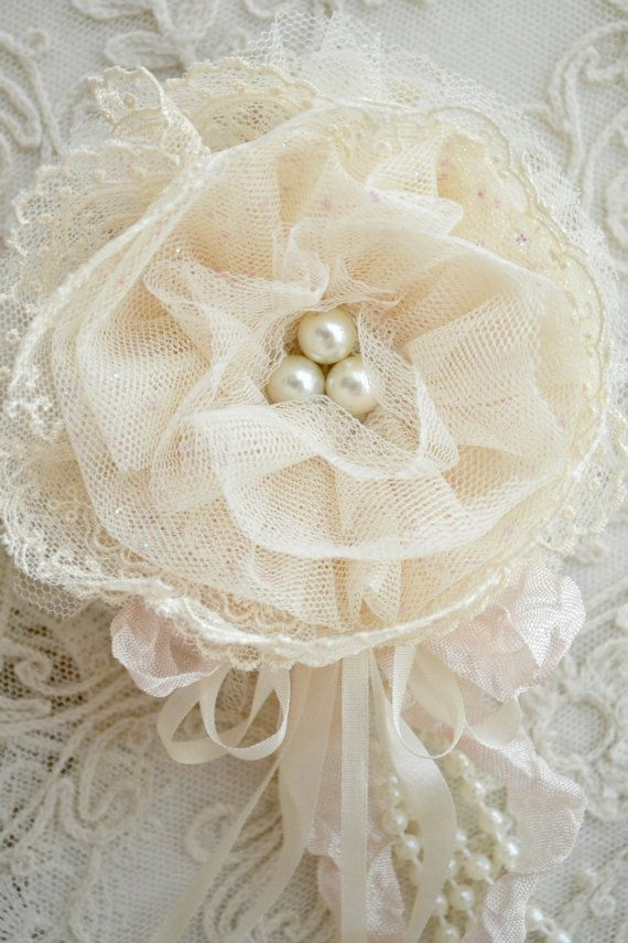 Ivory Lace and Tulle Gillyflower Handmade by by Jenneliserose