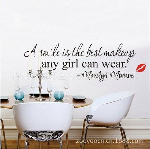 Marilyn Monroe Wall Decals: Toprate(TM) A Smile Is the Best Makeup Any Girl Can Wear.-marilyn Monroe-wall Quote-wall sayings-wall Decal-vinyl Wall Lettering-wall Sayings-home Art Decor Decal by Toprate(TM). ............ Get Marilyn Monroe Wall Decals at Amazon from Wall Decals Quotes Store