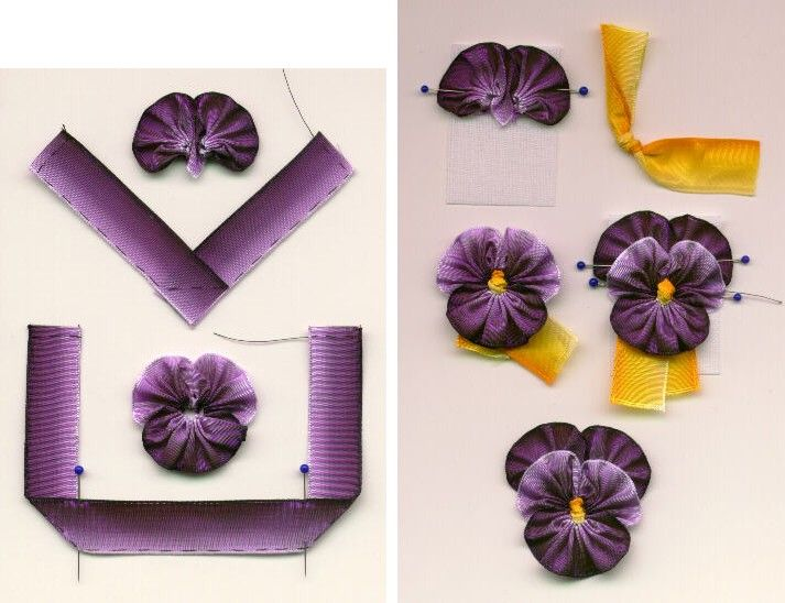 I ❤ ribbonwork . . . Ribbon Pansies Tutorial- This easy technique can be used to make a pansy or viola. Use this as an embellishment on a crazy quilt block. The pansy is made with the fine wire removed from the edge of both the flower's ribbon and the flower center's ribbon. Here's a step-by-step picture, sewn with black thread to make the stitches easier to see. I use a size 10 milliner's needle, Nymo bead thread, and French wired ribbon.