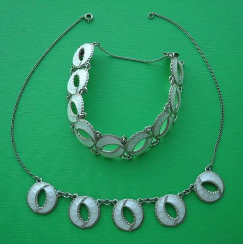 Norwegian-Andresen-Scheinpflug-Silver-White-Enamel-Matching-Necklace-Bracelet