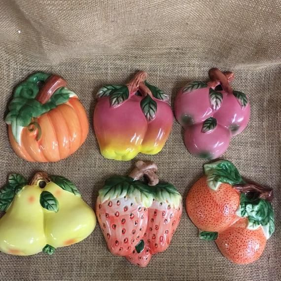 Ceramic Fruit Wall Plaques Vintage Decor Set Of Six In