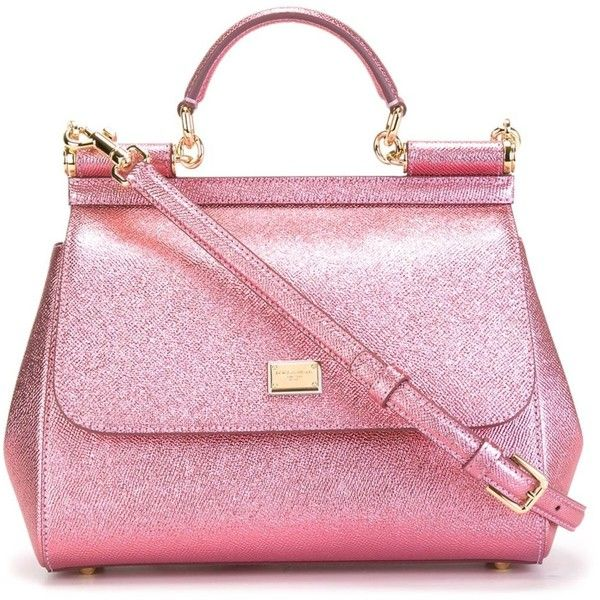 Dolce & Gabbana small 'Sicily' tote ($2,205) ❤ liked on Polyvore featuring bags, handbags, tote bags, pink leather tote, pink tote bag, metallic leather tote, handbags totes and metallic tote