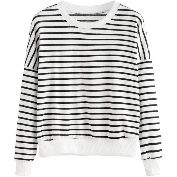 Black White Striped Drop Shoulder Sweatshirt ($21) ❤ liked on Polyvore featuring tops, hoodies, sweatshirts, shein, striped long sleeve top, black and white stripe top, print sweatshirt, stripe top and sweater pullover