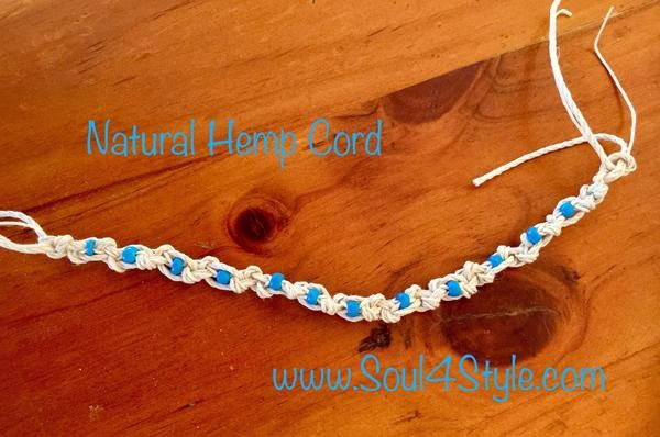 Blue beaded hemp cord bracelet – Soul4Style