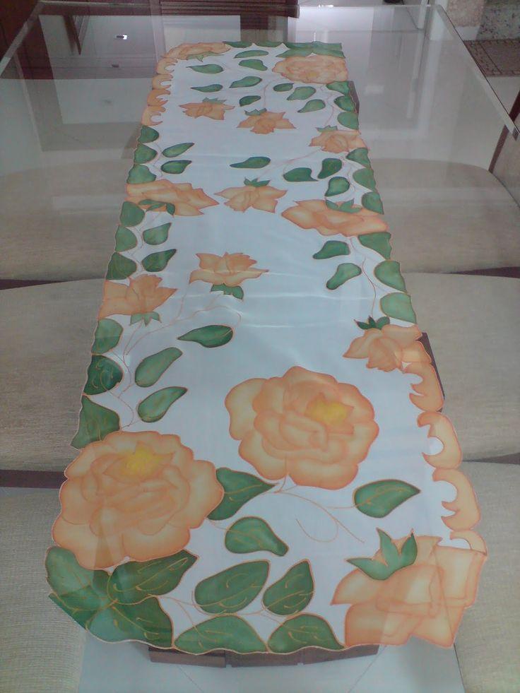 506 mejores im genes sobre pintura tela manteles caminos - Manteles y caminos de mesa ...