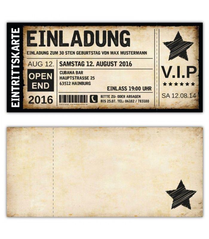 Schön Einladungskarten Einladungskarte Geburtstag Als Ticket Eintrittskarte  Einladung Karte Vintage VIP Mit Stern