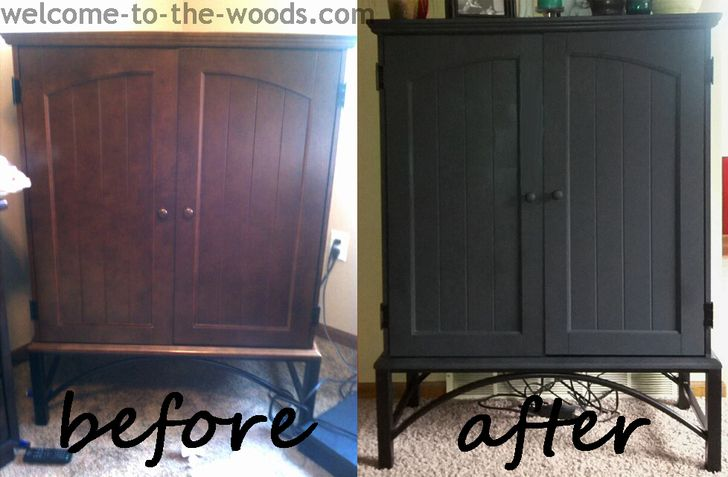 Black TV cabinet makeover. A simple change made a great transformation!