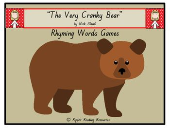 """Three rhyming words games are included based on the rhyming words in """"The Very Cranky Bear"""" by Nick Bland. There are four versions of rhyming games in this resource using the rhyming word cards from the picture book.  There are also three different 'twists' in one of the rhyming words games using the sheep, lion and zebra cards for players to either lose their cards, miss a go or have another turn.Also included in this resource are two different bookmarks (10 copies of each per page) and…"""