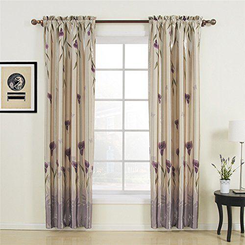 iyuegou floral polyester purple blackout rod pocket. Black Bedroom Furniture Sets. Home Design Ideas