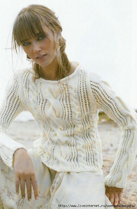 Белый пуловер с косами.. Обсуждение на LiveInternet - Российский Сервис Онлайн-Дневников