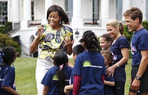 Mrs Obama wearing Peter Som 'Splash Floral' silk top.